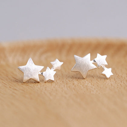 925 sterling silver Star Stud Earrings for Women Elegant Wedding Jewelry