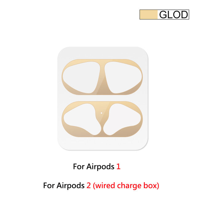 1 Set Ultra Thin Skin Protective Cover For Apple Airpods Metal Film Sticker Iron Shavings Dust Guard For Airpod Earphones