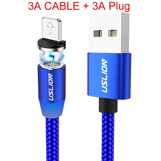 3A Fast Charging Magnetic USB Cable Type C Micro Cable LED Nylon Braided Type-C Magnet Charger For Iphone XS 7 Samsung 1M