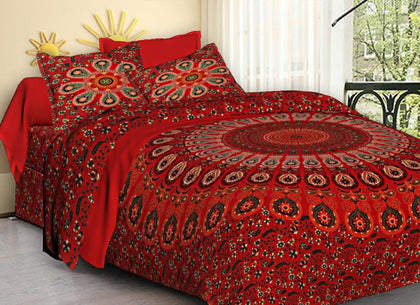 Jaipuri Bedsheet King Size (93x108 Inch )100% Cotton - (Red Chilli Mandala) - iZiffy.com