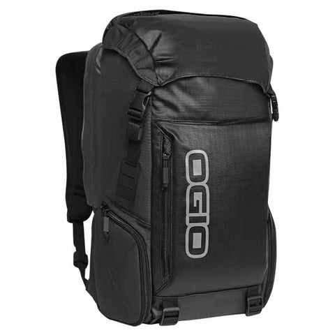 Ogio Throttle Backpack is a top-loading pack with a water-resistant hood