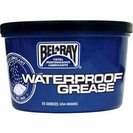 454g tub - Bel-Ray Waterproof Grease is a long lasting waterproof grease providing maximum protection against wear, rust and water washout.