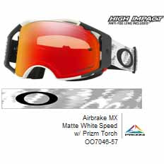 OA-OO7046-57 - Oakley Airbrake MX goggles in Matte White Speed frame with Prizm Torch lens