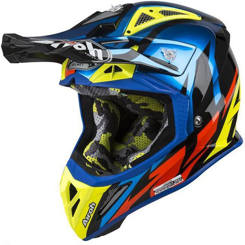 Airoh Helmet Great Blue Chrome Aviator 2.3 Off-Road Size Large