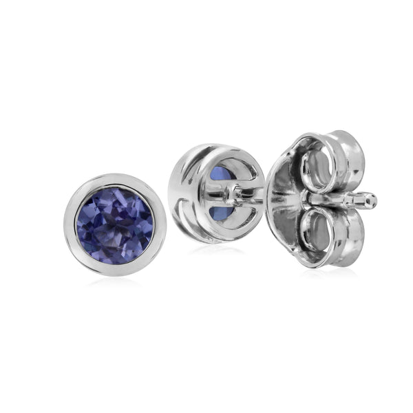Tanzanite Boucles D'Oreilles, Argent Sterling Simple Tanzanite Chaton Round Stud Earrings