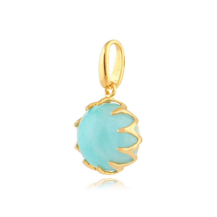 Calo' Amazonite Pastel Collier en 9ct Or Jaune Plaqué Argent Sterling