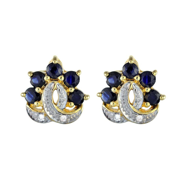 Saphir Boucles, 9ct or Jaune 0,80ct Saphir & Diamant Boucles