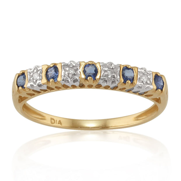 9 Ct Or Jaune 0.24CT CT SAPHIR NATUREL ET DIAMANT Bague mi-éternité