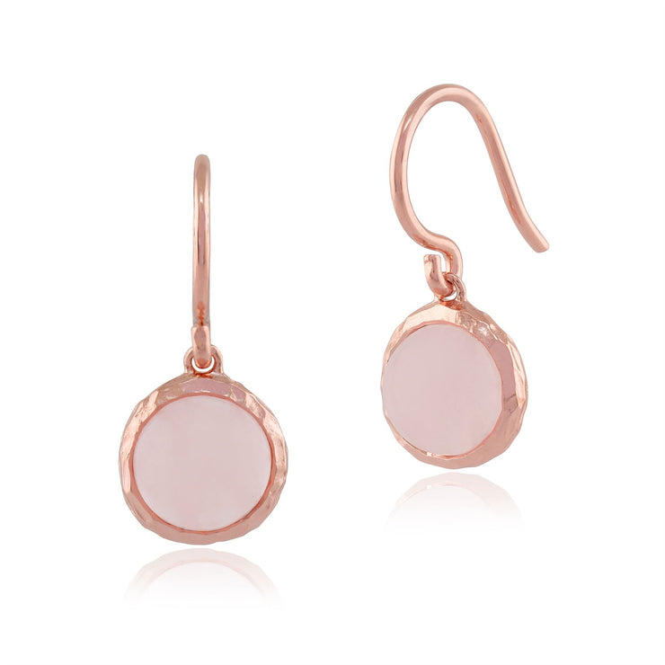 Quartz Rose 'Irida' Pastel Earrings in 9ct Plaqué Or Rose Argent Sterling
