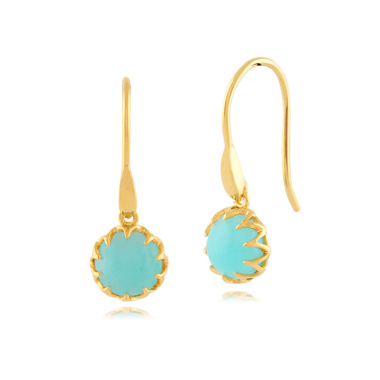 Calo' Amazonite Goutte Pastel Earrings in 9ct Or Jaune Plaqué Argent Sterling