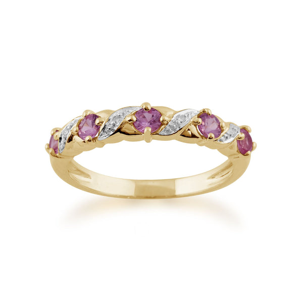 Gemondo Saphir Rose Anneau, 9ct or Jaune 0,50 CT Saphir Rose & Diamant Demi Alliance