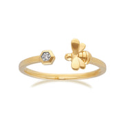 Bague Abeille Collection Honeycomb Or Jaune 375 Diamant