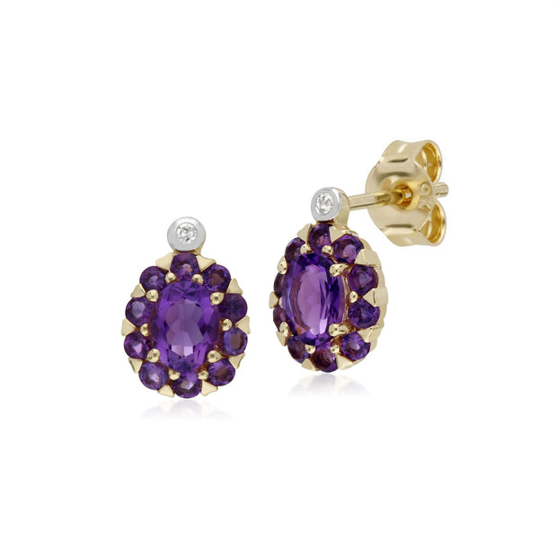 s 9 CT or Jaune Améthyste & Diamant Ovale Grappe Boucles D'Oreilles Clous