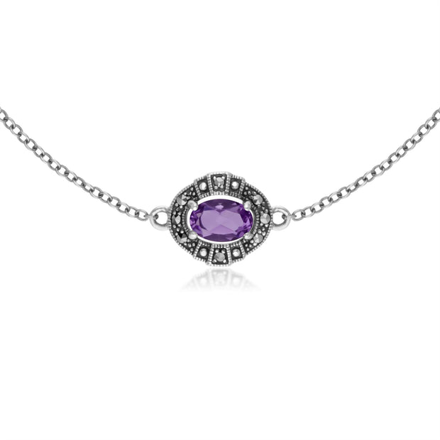 Argent Sterling Ovale Amethyst And Marcassite Serti Bracelet