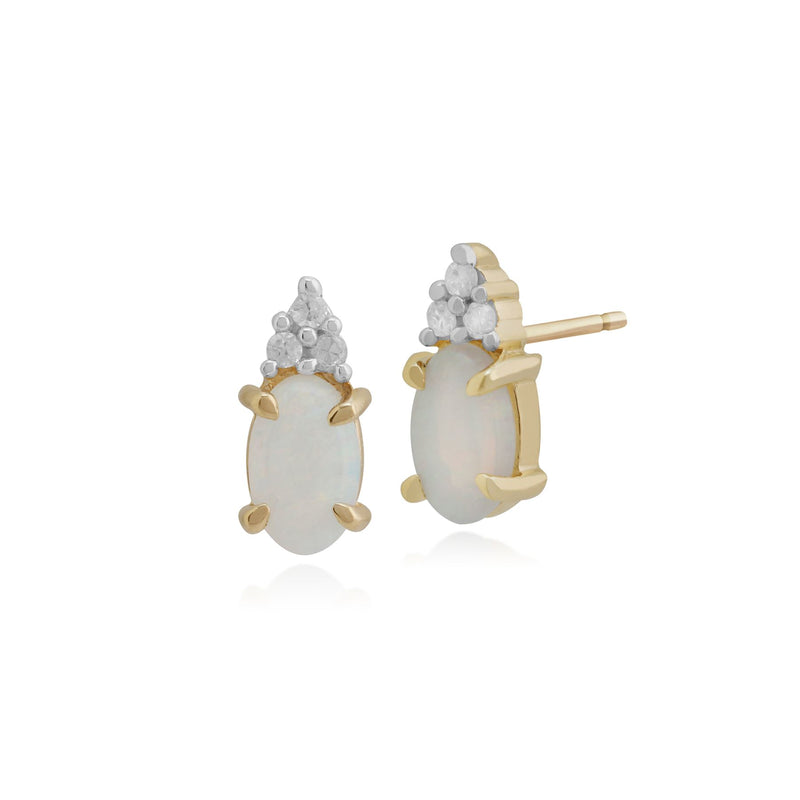 Boucles d'oreilles Opales, 9 Ct Or Jaune 0.30ct ct Opale & Diamant clous
