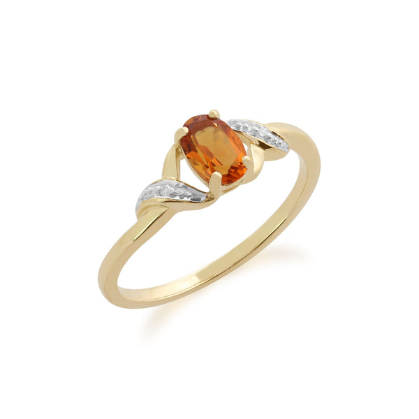 Gemondo Citrine Bague, 9ct Or Jaune 0.40ct Citrine & Bague Diamant