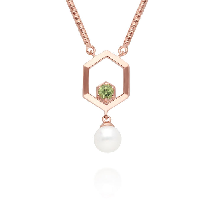 Modern Pearl & Peridot Hexagon Drop Necklace in Rose Gold Plated Sterling Silver