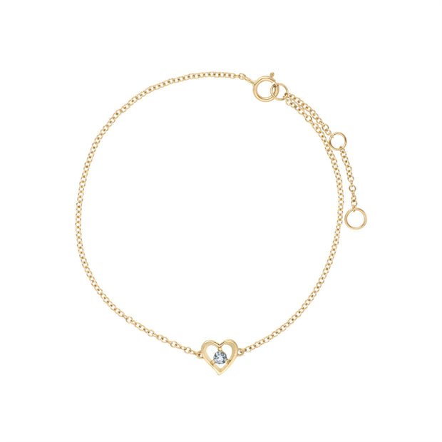 Aigue-Marine Bracelet, 9 CT or Jaune Aigue-Marine Rond Pierre Unique Coeur 19cm Bracelet