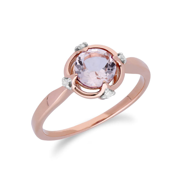 Gemondo 9ct Rose Gold Halo Morganite & Diamond Round Cut Ring