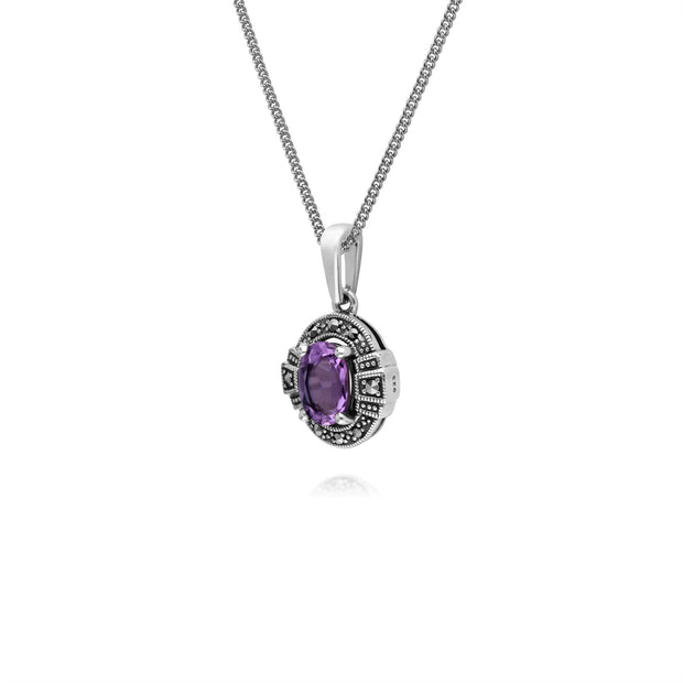 Argent Sterling Ovale Amethyst And Marcassite Serti 45cm Collier