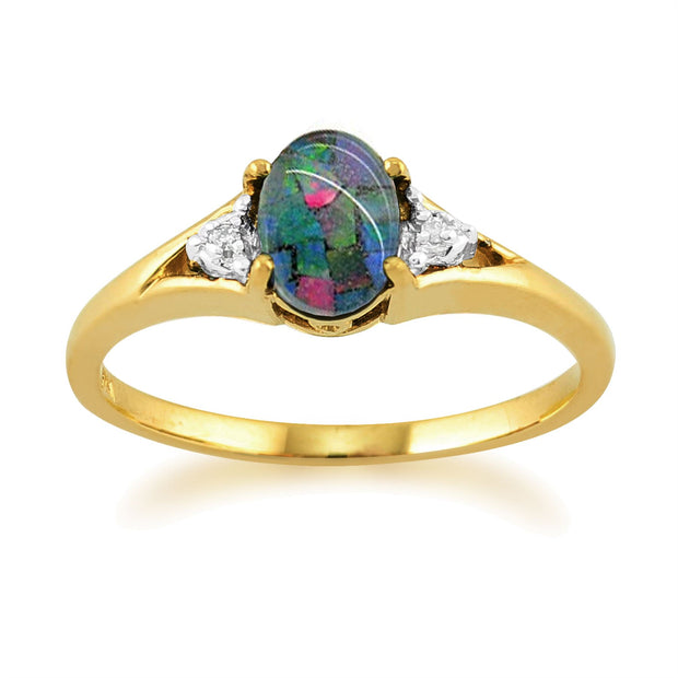 Bague Opale Triple 0,62 ct & Diamant Or Jaune 9 ct