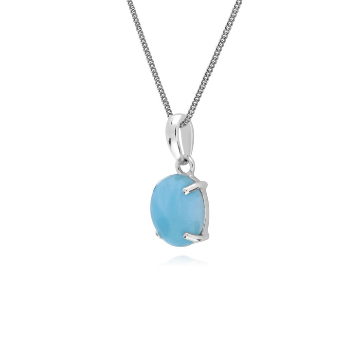 s Argent Sterling Larimar Pierre Unique Ovale 45cm Collier
