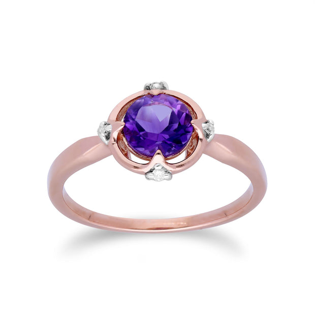 Gemondo 9ct Rose Gold Halo Amethyst & Diamond Round Cut Ring
