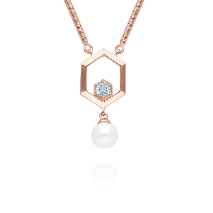 Modern Pearl & Aquamarine Hexagon Drop Necklace in Rose Gold Plated Sterling Silver