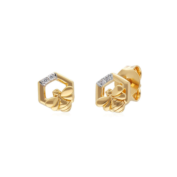 Boucles d'Oreilles Hexagonales Abeilles Collection Honeycomb Or Jaune 375 Diamant