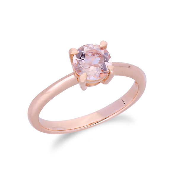Gemondo Morganite Bague, 9 CT or Rose Morganite Coupe Ronde Bague Pierre Unique - Morganite