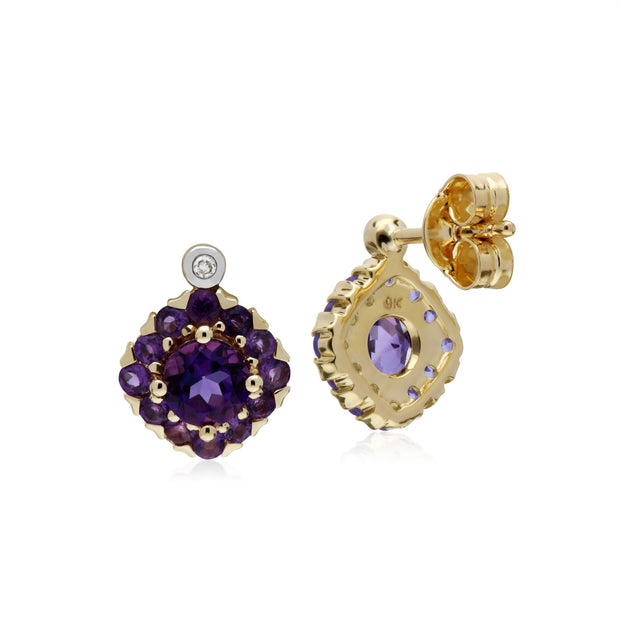 s 9 CT or Jaune Améthyste & Diamant Carré Grappe Boucles D'Oreilles Clous