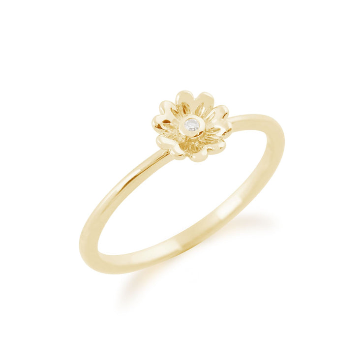 Gemondo 9ct Yellow Gold 0.01ct Diamond Stackable Floral Ring
