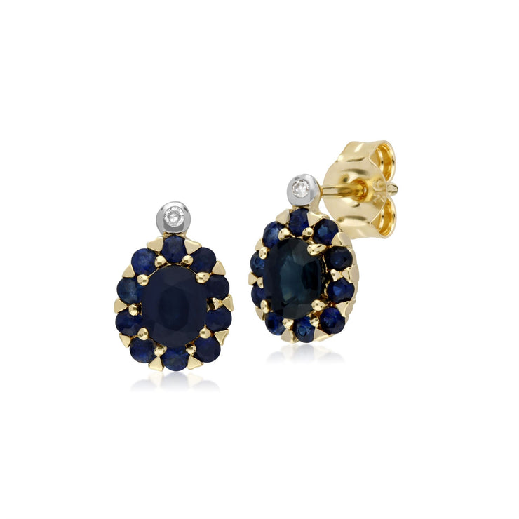 9 ct Saphir or Jaune & Diamant Ovale Grappe Boucles D'Oreilles Clous