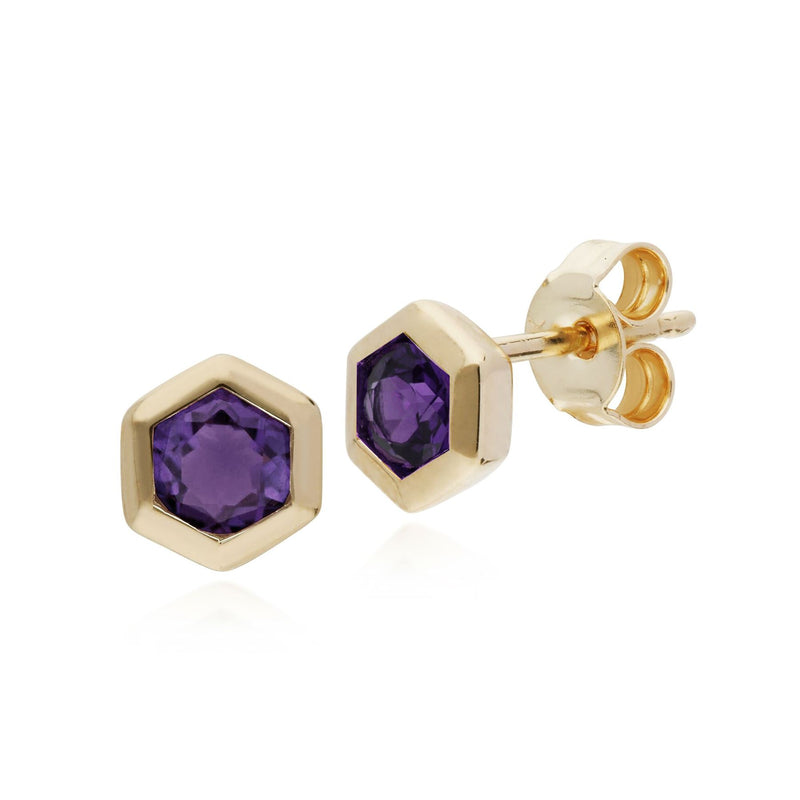 Am�thyste Boucles D'Oreilles, 9 CT or Jaune Am�thyste Hexagone Boucles D'Oreilles