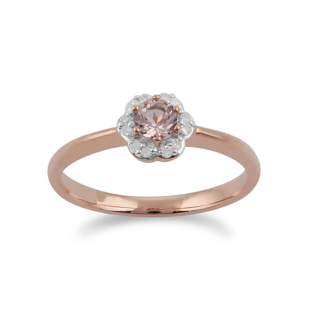 Gemondo Morganite Bague, 9 CT or Rose 0.18ct Morganite & Diamant Bague Fleur