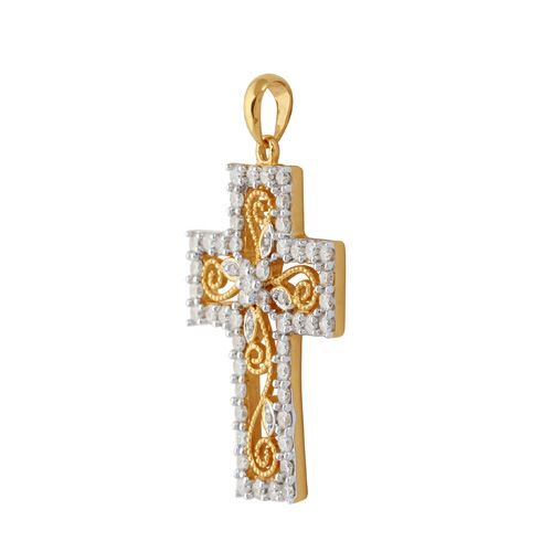 18ct Yellow Gold 0.90ct Full Cut Diamond Cross Pendant on Chain