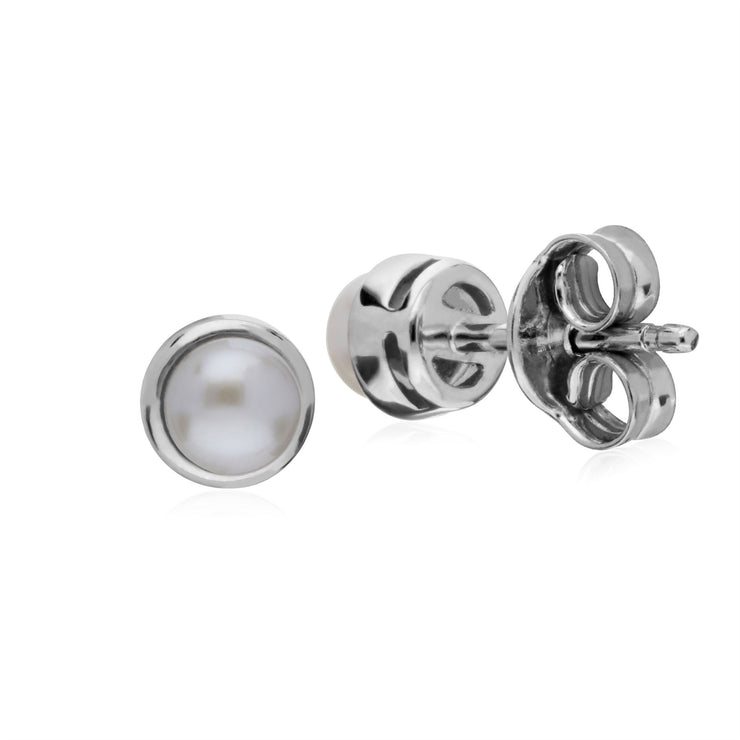 Perle Boucles D'Oreilles, Argent Sterling Simple Chinois Perle D'Eau-Douce Chaton Round Stud Earrings