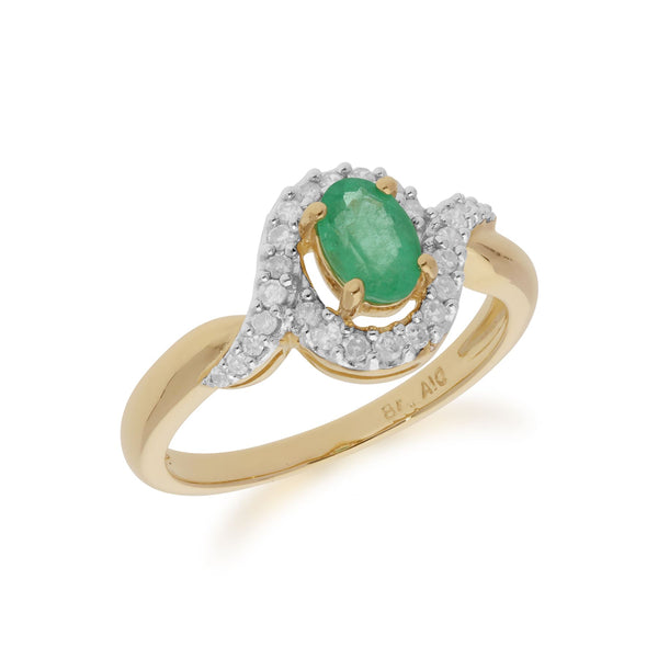 Classic Oval Emerald & Diamond Ring in�9ct Yellow Gold�