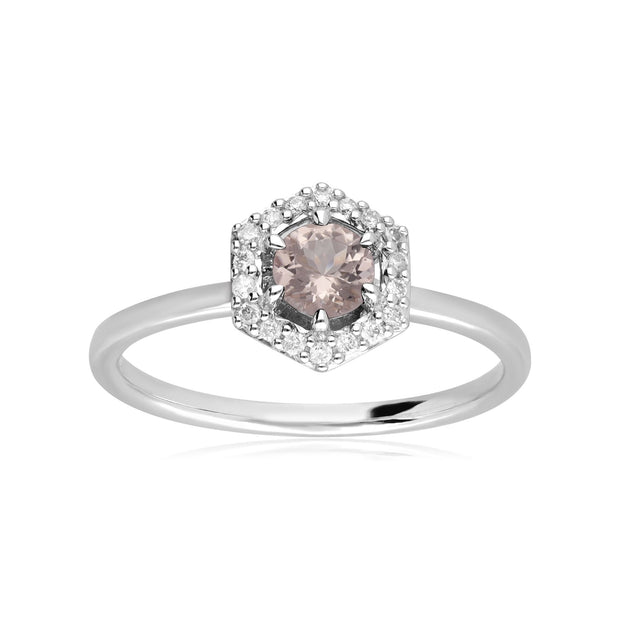 Bague Fiançailles Halo Or Blanc 375 Morganite 0,556ct et Diamant