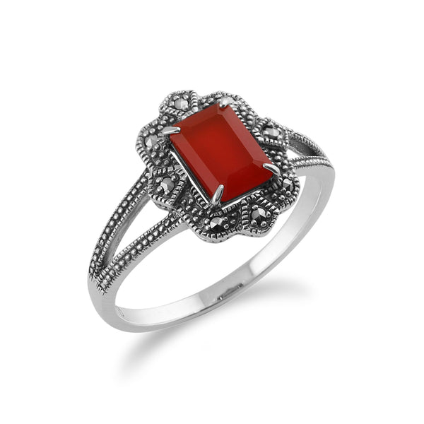Gemondo 925 Argent Art Déco 0,85ct Orange Cornaline & Marcassite Bague