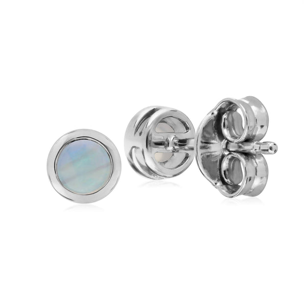 Opale Boucles D'Oreilles, Argent Sterling Simple Opale Chaton Round Stud Earrings