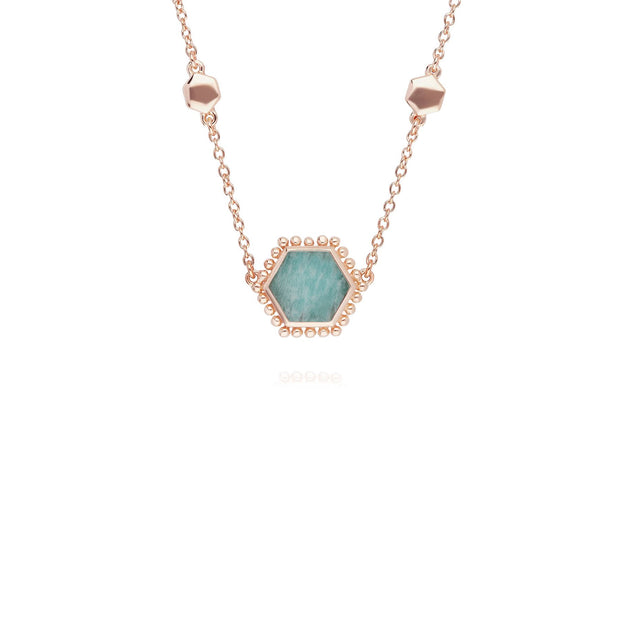 Collier Flat Slice Hexagone Argent 925 Plaqué Or Rose Amazonite