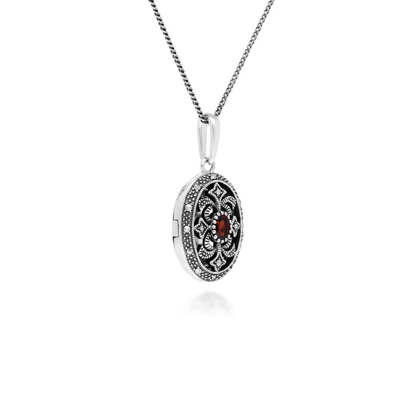 Collier Porte-Photo Style Art Nouveau Argent 925 Grenat Oval