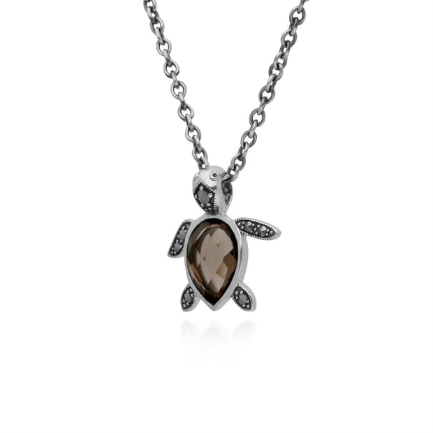Fumé Quartz Collier, Argent Sterling 0,75 CT Fumé Quartz & 0,07 CT Marcassite Tortue 45cm Collier