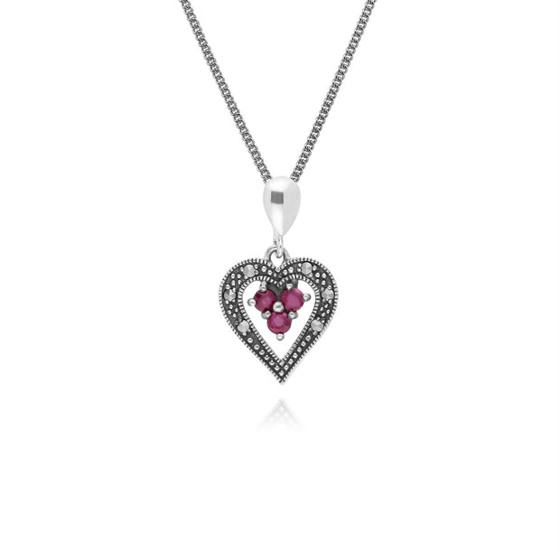 Argent Sterling Rubis & Marcassite Coeur 45cm Collier