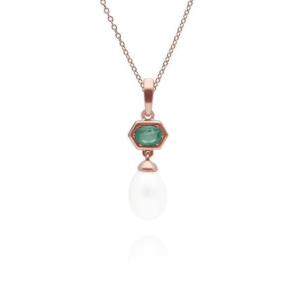Modern Pearl & Emerald Hexagon Drop Pendant in Rose Gold Plated Sterling Silver