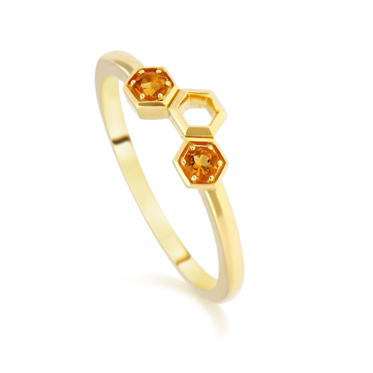 Bague Empilable Style Honeycomb Or Jaune 375 Citrine