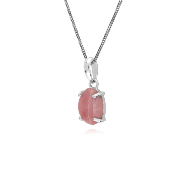 Argent Sterling Rhodochrosite Pierre Unique Ovale 45cm Collier