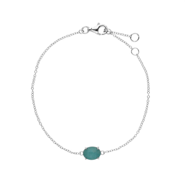 s Argent Sterling Amazonite Pierre Unique Ovale 19cm Bracelet