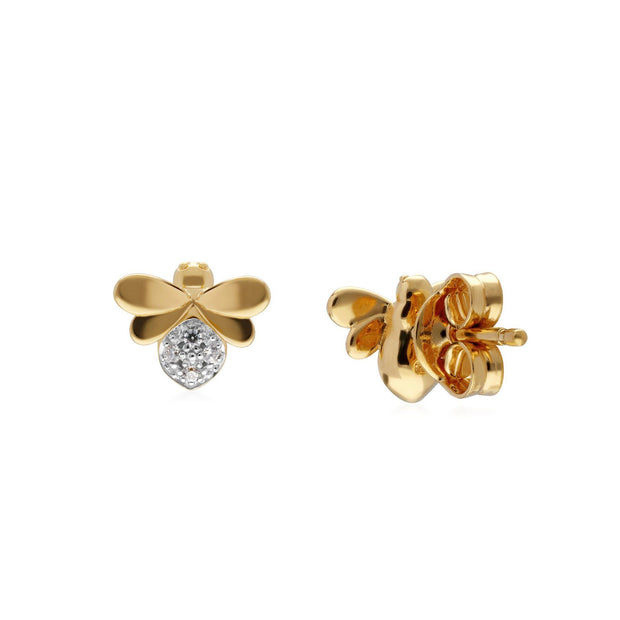 Boucles d'Oreilles Abeilles Collection Honeycomb or Jaune 375 Diamant